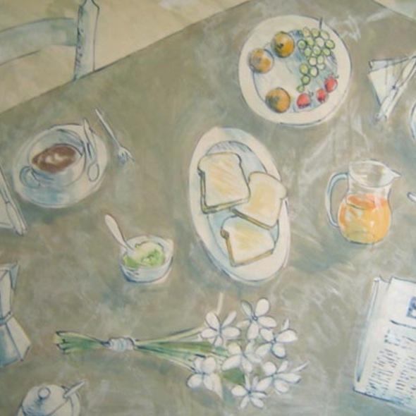 Desayuno, flores y El Pais