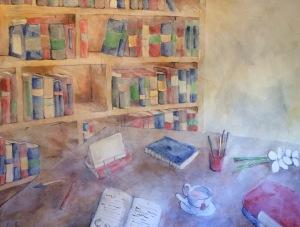 Librería con té rojo - Pintura