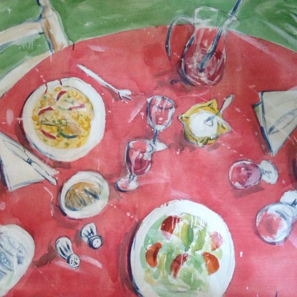 Bodegón rojo paella