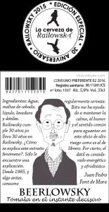 Etiqueta trasera BEERLOWSKY  - Ilustración