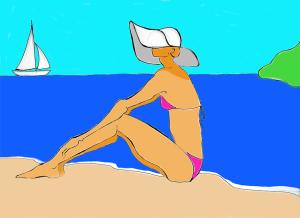 Chica con pamela y velero - Ilustración