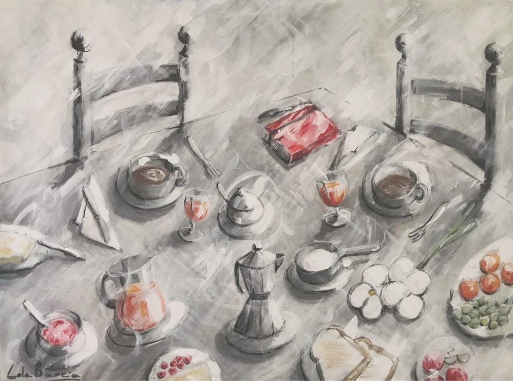 Desayuno mediterráneo con libreta roja